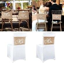 Nueva silla de lino Banner novio y novia foto Props aniversario letreros colgantes Set silla decoración Vintage decoración de la boda