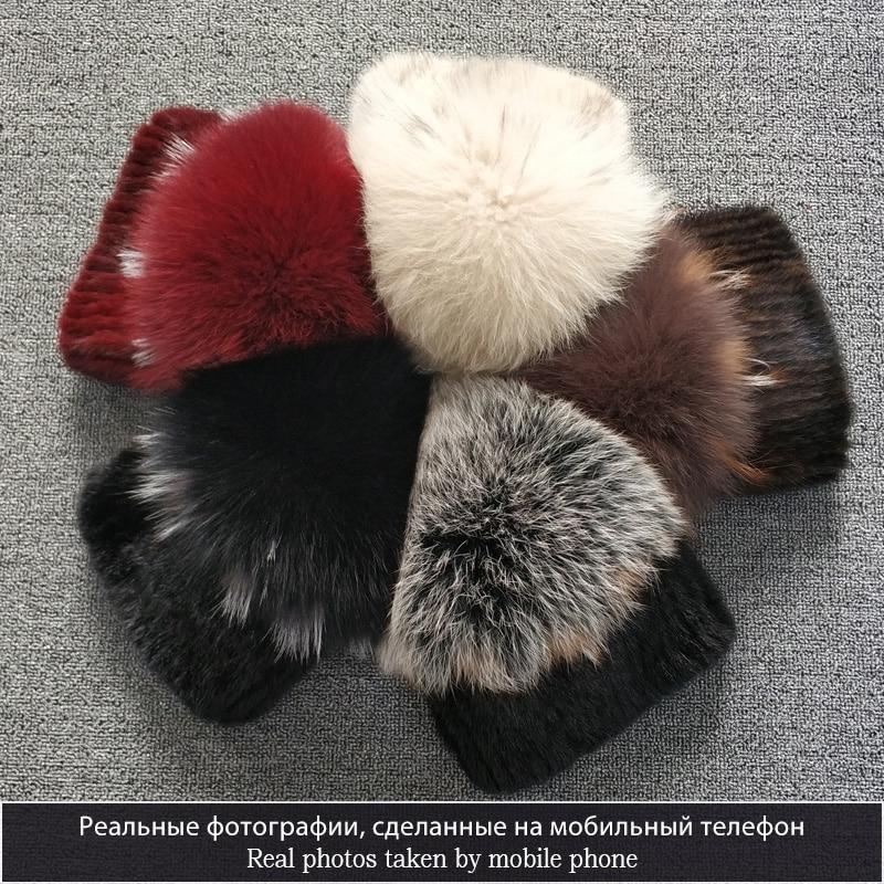 Sombrero de piel de visón de alta calidad para mujeres sombreros de piel de visón natural con pompones grandes de lujo de piel de zorro las mujeres de dama ir - 6
