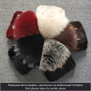 Image 5 - high quality Mink Fur hat for women natural Mink Fur Hats with Luxury Big Pompom Fox Fur Ball Beanies winter womens cap lady go