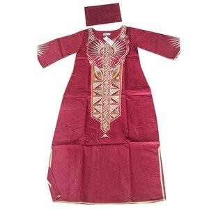 Image 3 - MD 2020 Dashiki Váy Đầm Cho Nữ Châu Phi Bazin Riche Áo Dài Với Headwrap Plus Size Đầm Thêu Châu Phi Nữ Quần Áo