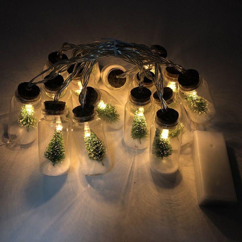 Mini Christmas Tree String Light Glass Bottle Pedan Glass Wishing Messenger Bottle For Christmas New Year Xmas String Light