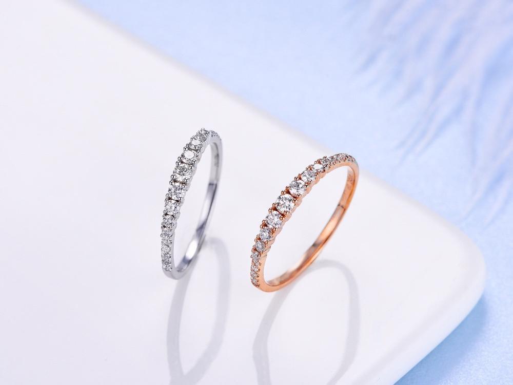 ANI 18K or blanc/Rose (AU750) bague de mariage 0.24 CT anneaux en or anillos mujer bague de mariage véritable diamant naturel pour les femmes - 2