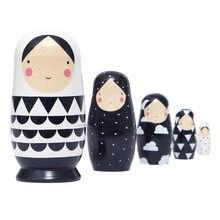 5 peças russo matryoshka brinquedo novo estilo preto branco de madeira ins estilo russo matryoshka 5 camada presente criativo