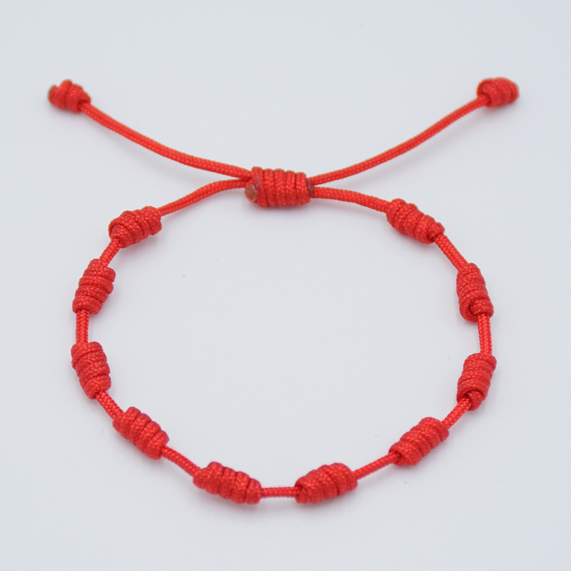 1Pc Fashion Simple Handmade Lucky Red Thread Braided Bracelets Black Blue Rope String 10 knots Bracelet For Men Women Couple