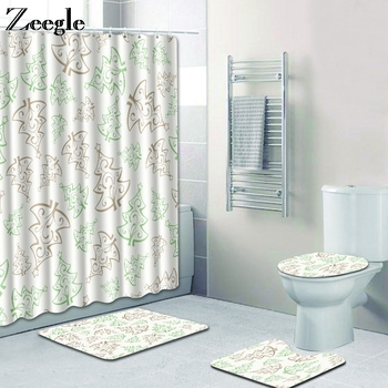Zeegle Shower Curtain for Bathroom Toilet Seat Cover Mat Anti Slip Toilet Pedestal Rug Foot Mat Flannel Soft Bathroom Shower Mat