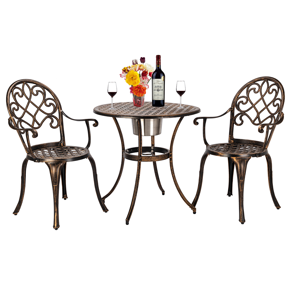 Cast Aluminum Outdoor 3 Piece Patio Bistro Set Of Table And Chairs With Ice Bucket Bronze
