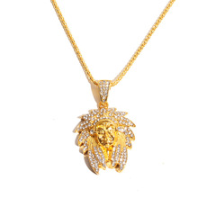 European and American diamond lion head hip hop necklace Indian Ann mens neutral gold-plated hiphop pendant accessories