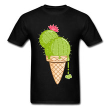 Green Plant Cactus Cream Print T-Shirts For Student Funny Famous Brand Casual Tops T Shirt Create Design Boys Cartoon Tops Tees(China)