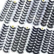 Novo 10 pares 8-25mm 3d vison cílios em massa falso grosso longo wispy natural vison cílios pacote curto atacado natural cílios postiços