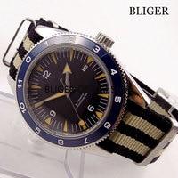 Vidro de safira 41mm nologo dial relógio masculino azul cerâmica bezel marcas luminosas movimento automático relógio de pulso