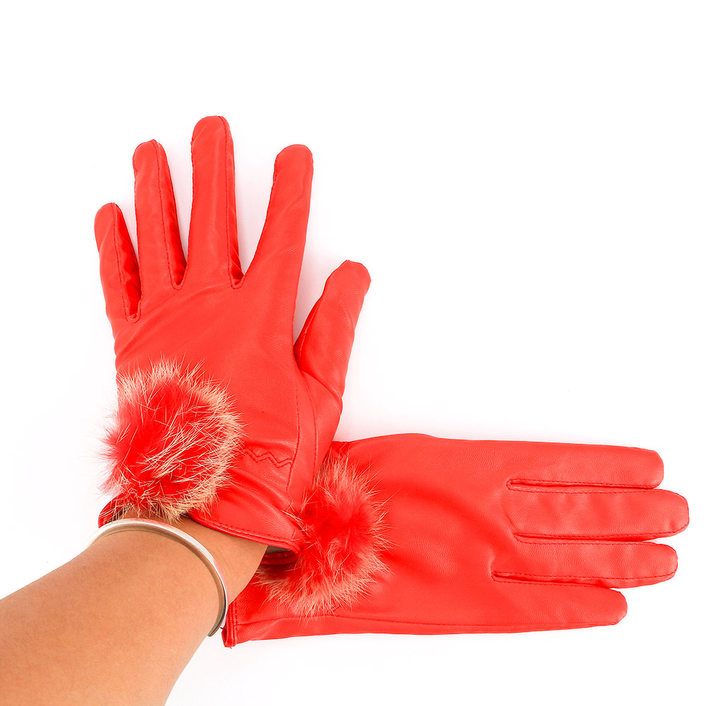 Ladies Autumn And Winter Thickening Warm Cycling Gloves Female Models Cashmere Rabbit Hair Ball Touch Screen Glove PU