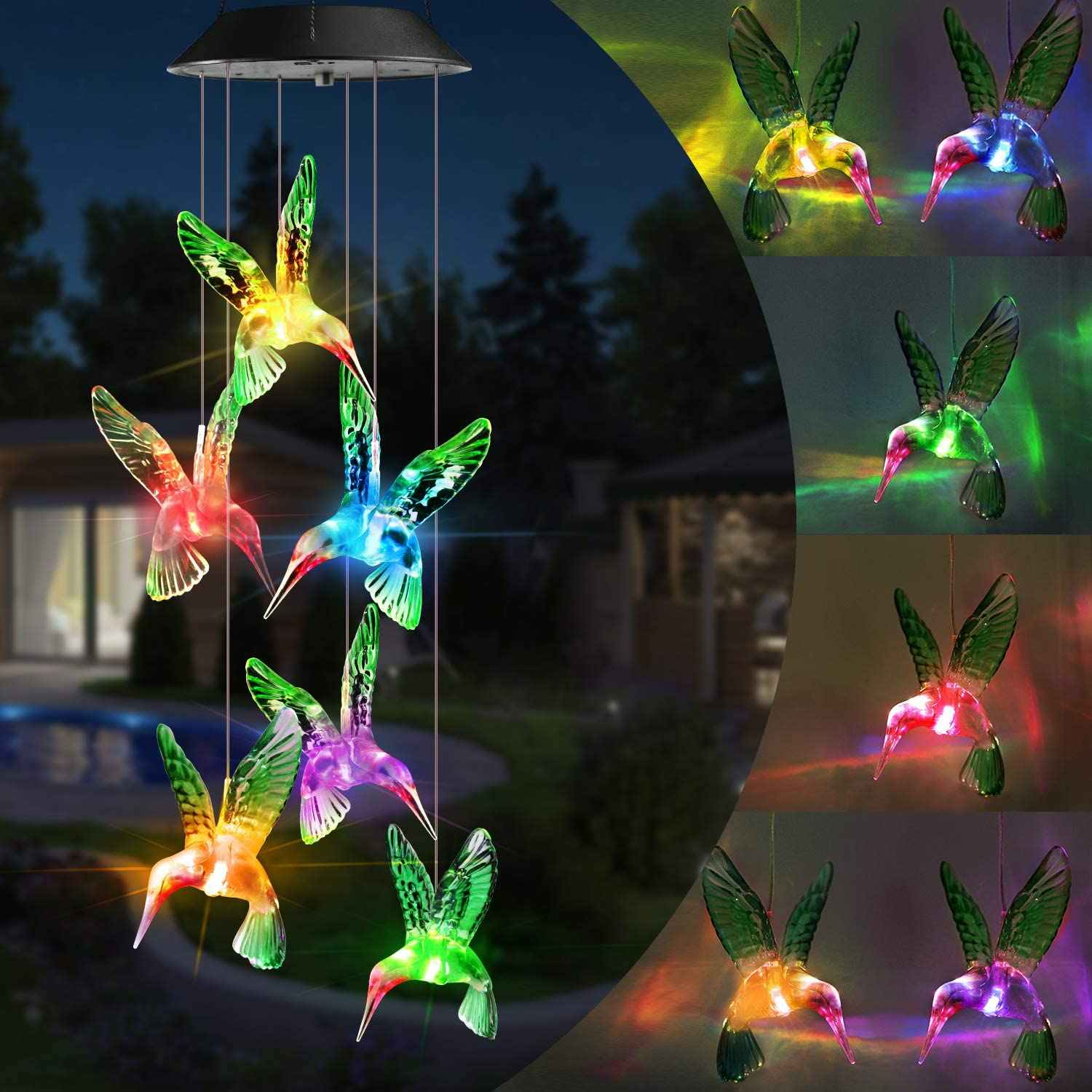 Kleur Veranderende Solar Power Wind Chime Crystal Ball Hummingbird Vlinder Waterdichte Outdoor Windchime Licht Voor Patio Yard Garde