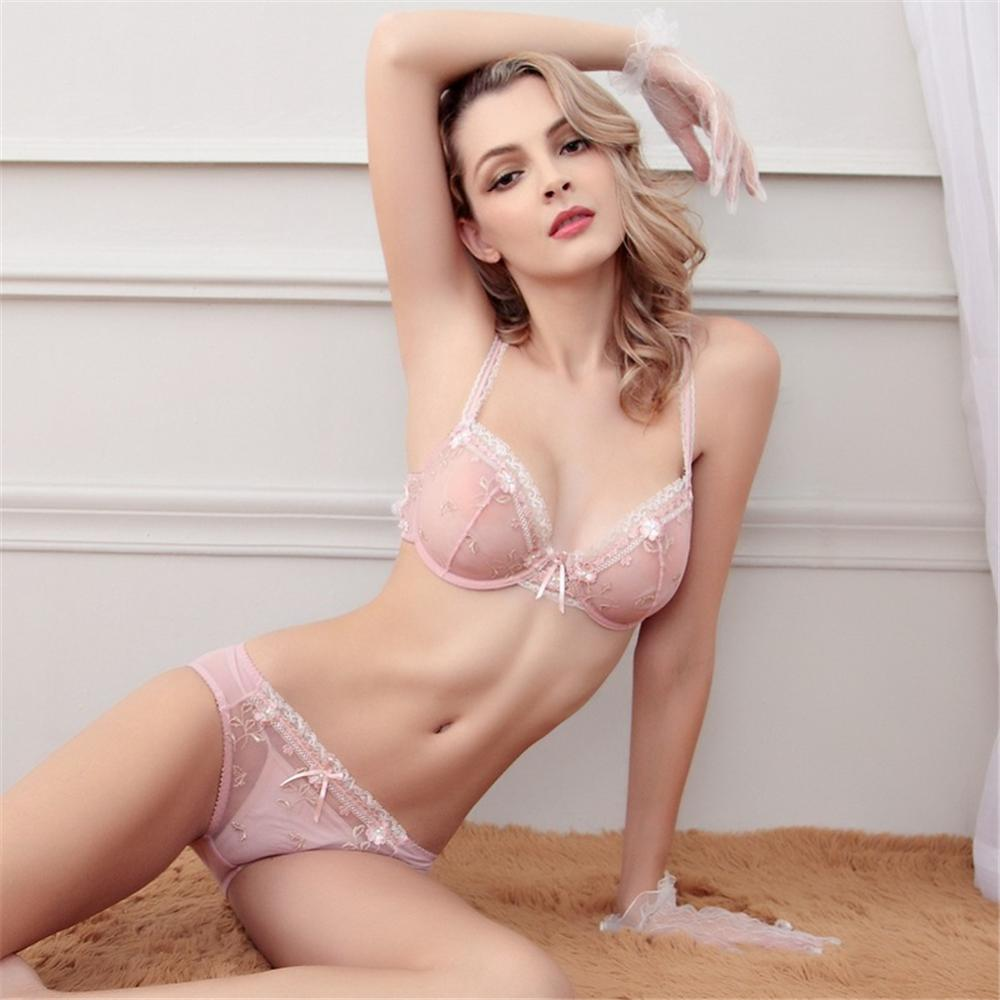 CYHWR Summer Sexy Transparent Lingerie Lace Embroidery Thin Bra Bra Set For Women Underwear