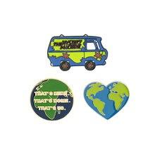 Él máquina de misterio Mapa de viajes de pines de esmalte de dibujos animados Scooby broches de autobús Pin de solapa camisa de divertido insignia de la vieja escuela de la joyería