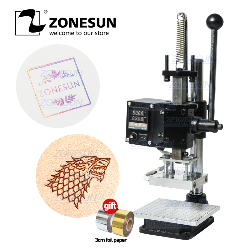 ZONESUN машина для горячего тиснения фольгой ручной бронзовый тиснитель, пвх карта, кожаная бумага, деревянное тиснение, штамп, железный