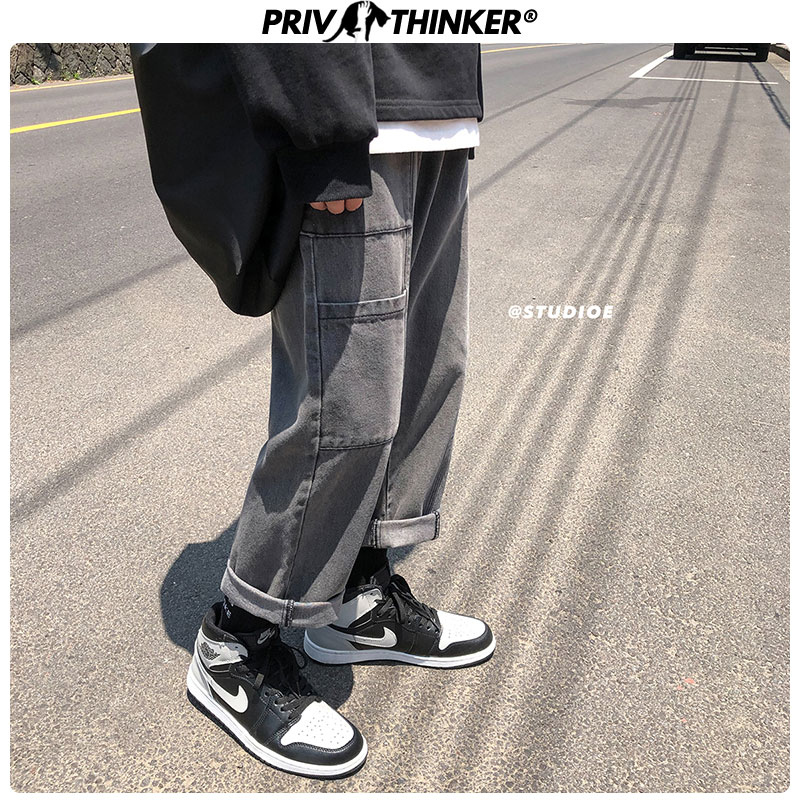 Privathinker Men Casual Pockets Hip Hop Denim Cargo Pants Mens Autumn Fashion Vintage Jeans Clothes Male 2019 Design Teen Pants