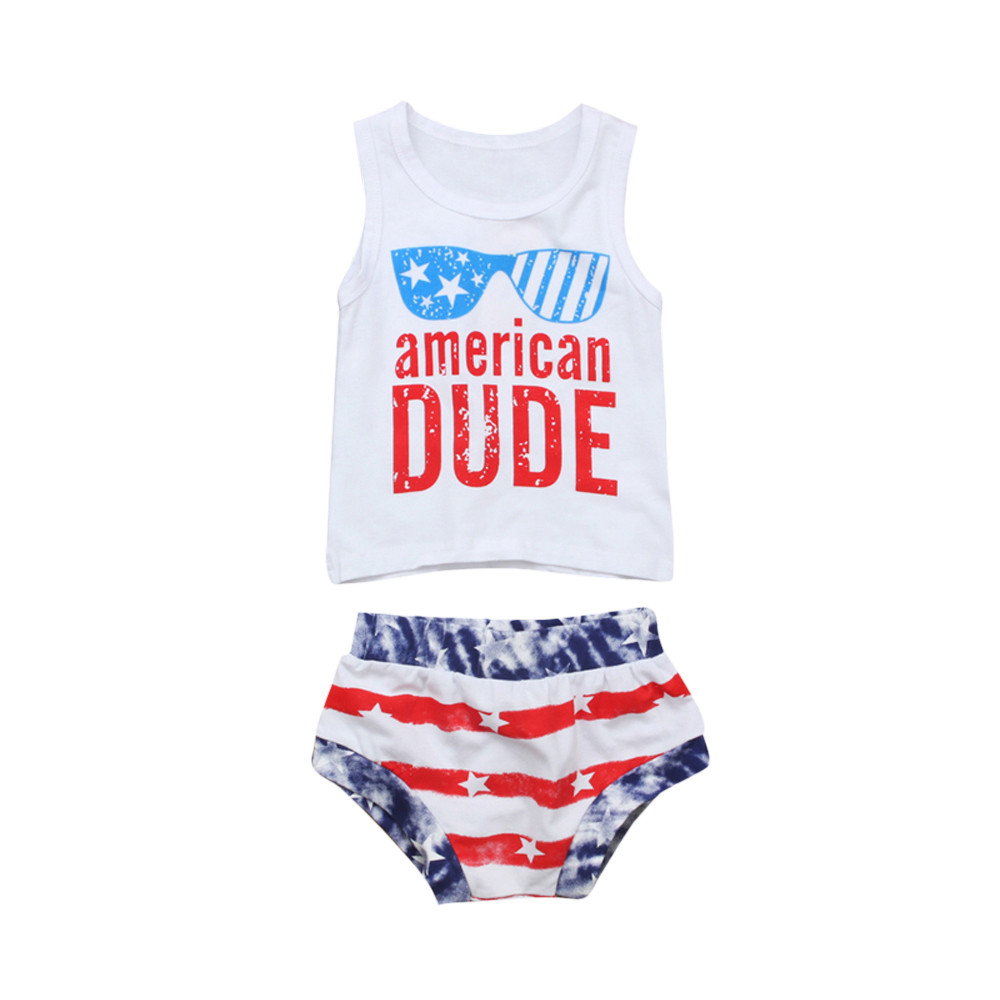 Stripe Shorts Summer Clothes Set Toddler Kids Baby Boy 4th of July Shorts Outfits Sleeveless Stars Top