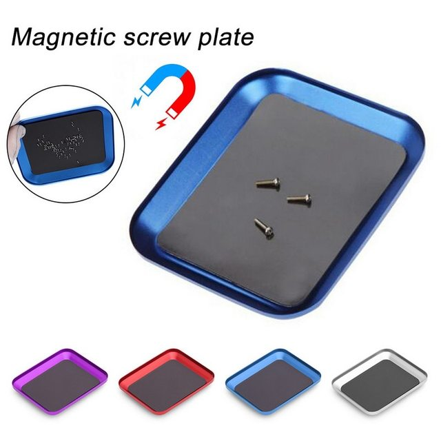 Adjustable Aluminum Alloy Magnetic Screw Storage Box Small Parts Screw Plate Tray For Mobile Phone Repair Tool Container