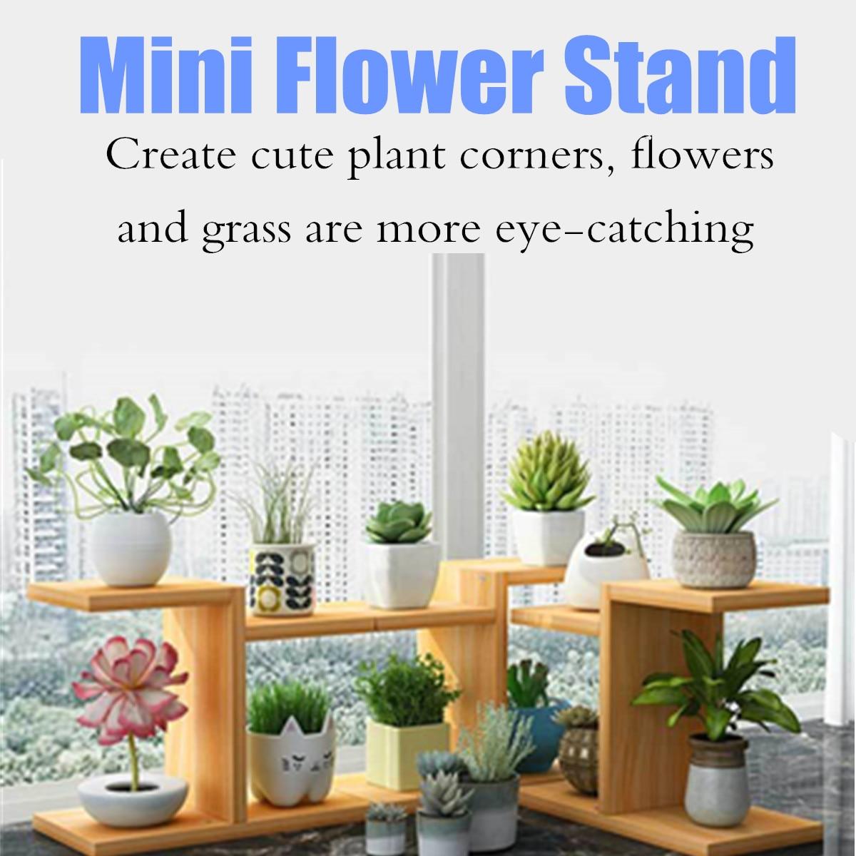 Simple Mini Wooden Plant Shelves Desktop Flower Rack Stand Flower Display Stand Storage Shelf Organizer Home Desk Balcony Garden
