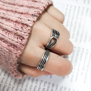 Image 4 - Ckysee Unique Simple 925 Sterling Silver Adjustable Rings Braided Band Multi layers Finger Ring 925 Silver Jewelry