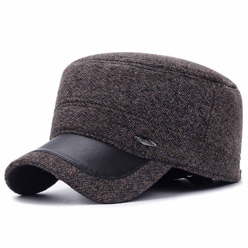 ПУ плоские верхние военные шапки для мужчин винтажные зимние кепки шапки для мужчин среднего возраста уличная теплая Кепка