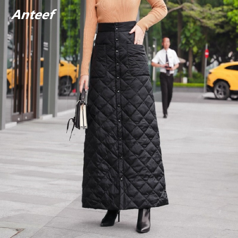 Black Down Cotton Plus Size Vintage 2019 High Waist Clothes Autumn Winter Casual Maxi Long Skirts Womens Skirt Women Streetwear