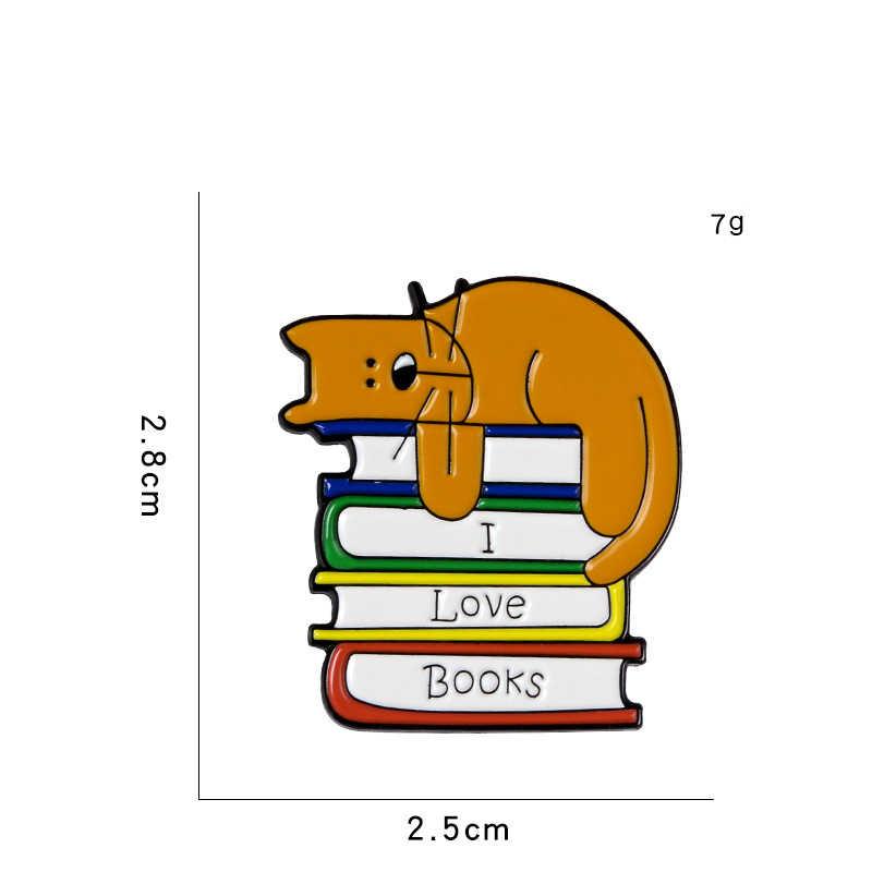 XEDZ ใหม่การ์ตูนน่ารักสัตว์ Lazy Puppy เลียบนที่มีสีสันซ้อนหนังสือโลหะเคลือบ PIN สนุกกระเป๋าเป้สะพายหลังเข็มกลัดของขวัญ