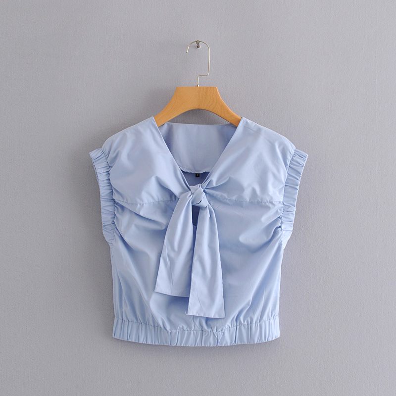 New 2020 Women Sweet Solid Color Bow Tied Decoration Casual Shirts Blouses Women Sleeveless Femininas Chic Chemise Tops LS6499