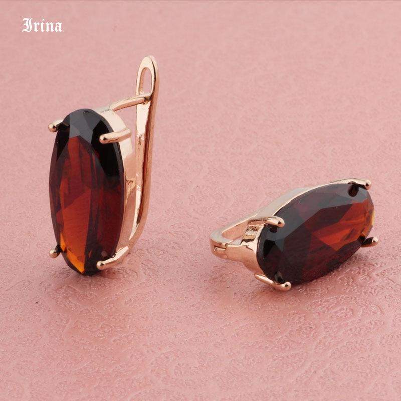 585 Rose Gold Color Cubic Zircon Earrings For Women Girls classic Dangle Earrings Statement Big Oval design Wedding