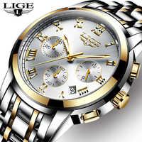 Lige homens relógios topo de luxo marca completa aço à prova dwaterproof água esporte quartzo relógio masculino moda data relógio cronógrafo relogio masculino