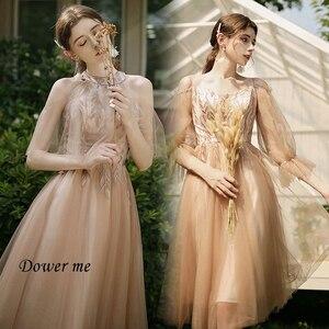 Женское платье подружки невесты, ТРАПЕЦИЕВИДНОЕ коричневое платье с коротким рукавом и v-образным вырезом, модель GR526 2020