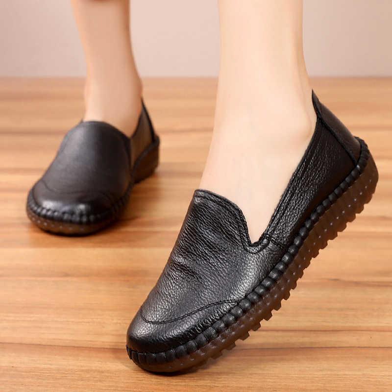 BEYARNEWomen's appartements chaussures à la main 2019 printemps automne en cuir véritable dames chaussures plates femmes en cuir rétro ShoeE786
