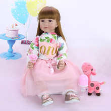 купить 24 Inch Reborn Baby Girl Dolls Handmade Cloth Body Stuffed 60 cm Boneca Truly Like Princess Reborn Babies Dolls Toy For Kids дешево