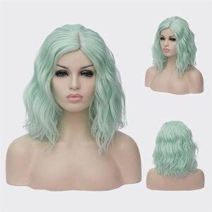 Image 5 - VICWIG perruques Cosplay synthétiques bouclées pour femmes, cheveux courts, bleus, violets, roses, verts, dorés, jaunes, en Fiber résistante à la chaleur