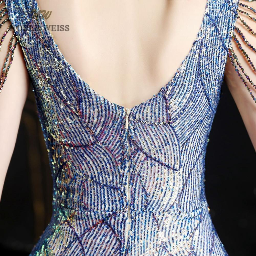 evening dresses 2019 colorful mermaid elastic sequin v-neck party dress sexy split long prom gown