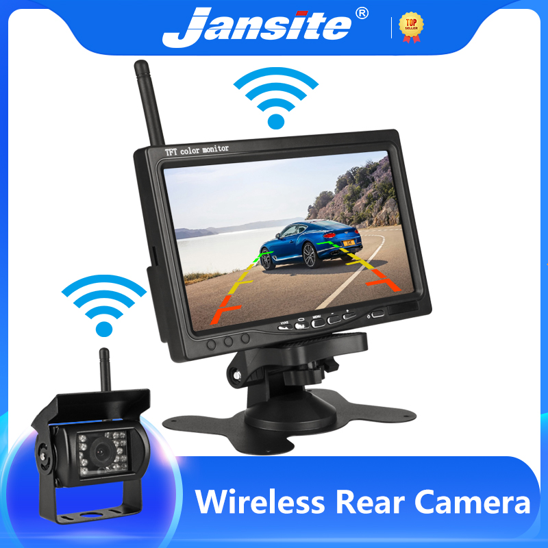 Jansite 7-дюймовый беспроводной автомобильный монитор TFT LCD автомобильная камера заднего вида HD монитор для камеры грузовика для автобуса RV фур...