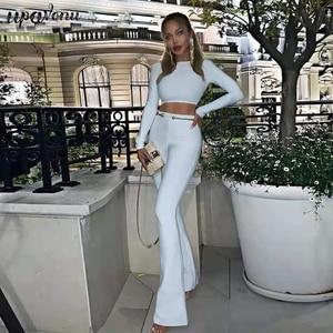 Зима 2020, Новый Модный женский бандажный костюм из 2 предметов, белый, с длинными рукавами, с золотыми пуговицами, с цепочкой, детальный боди
