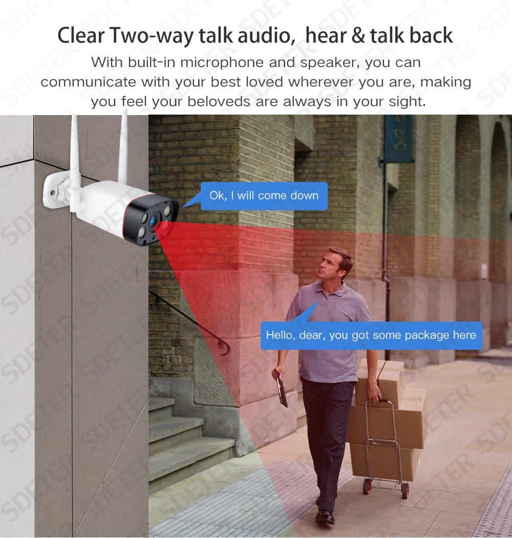 H87a0ca32856048c0a04d53b7c02cfc63F SDETER WiFi Outdoor Security Camera 1080P IP Camera WIFI Waterproof Wireless CCTV Camera Night Vision Audio Motion Alarm P2P Cam
