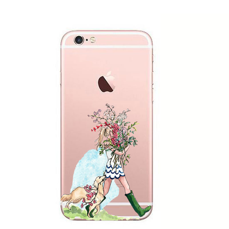 Soft-Phone-Cover-For-Coque-iphone-XS-max-Case-Dress-Girl-Print-Transparent-Silicone-TPU-Funda (1)