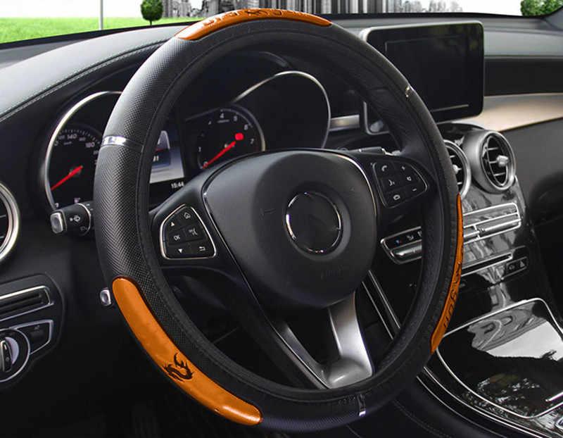 Chaud 38CM Auto voiture volant couverture Anti-prise protection du support universel gaufrage cuir réfléchissant intérieur accessoires