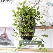 Planta Artificial de hojas verdes, hierba de hoja de seda falsa para decoración de boda, Fiesta en casa, arreglo artesanal, manualidad para regalo
