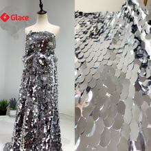 1piece high class quality sequin fabrics shining night dress skirt cloths fish scale sequins bright silver embroidery G0113