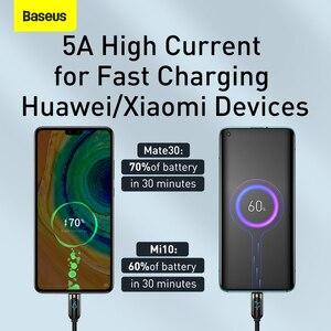 Baseus светодиодный дисплей USB Type C кабель для Xiaomi Huawei Samsung 5A Быстрая зарядка зарядное устройство USBC USB-C Дата кабель Type-C провод