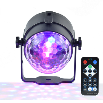 LEDSONLINE Mini RGB 3W kryształowa magiczna kula Led lampa sceniczna DJ Disco laserowe oświetlenie imprezowe dźwięk pilot na podczerwień boże narodzenie projektor tanie i dobre opinie Stage lighting effect led rgb crystal mini magic ball 90-240 V Domowej rozrywki