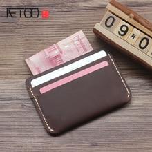 AETOO Handmade mini bulk wallet, leather drivers license set cowhide bag, ultra-thin hand-stitched document bag