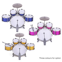 Children Kids Drum Set Musical Instrument Toy 5 Drums with Small Cymbal Stool Drum Sticks for Boys Girls drum set drums