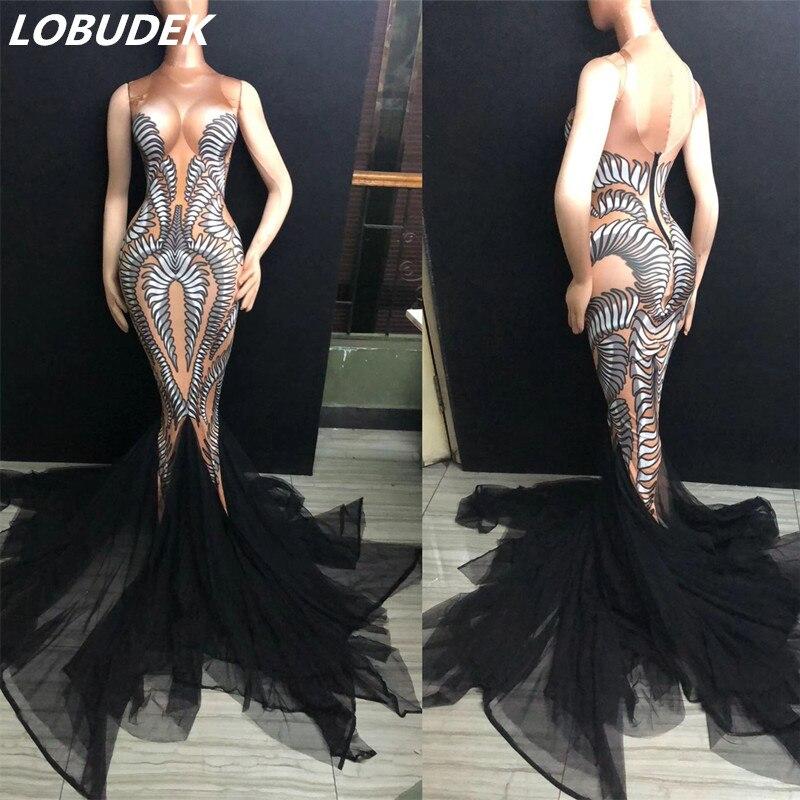 3D impression robe en queue de poisson discothèque dame chanteur Costume Sexy longue traînée robes de bal fête célébration Performance vêtements