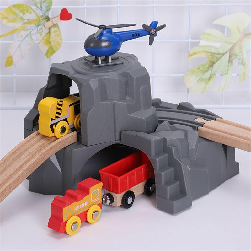 Пластиковый серый двойной туннель деревянный поезд трек аксессуары туннельный трек слот для поезда деревянная железная дорога игрушки ...