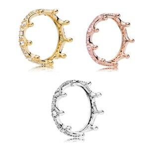 Кольцо с зачарованной короной, чистый фианит, весенние кольца для изготовления ювелирных изделий, 925 оригинальные серебряные ювелирные изд...