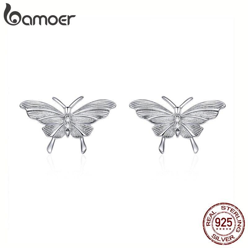 Bamoer 925 Sterling Silver Original Design Engraved Butterfly Stud Earrings For Women Fashion Bijoux Brincos 2020 New BSE330